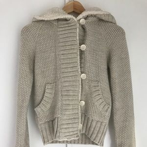 Zara Knit Hooded Cardigan Sweater, Size S